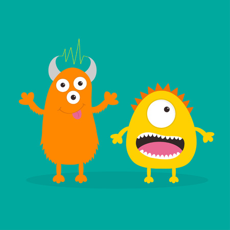 one eye: Yellow and orange monster with one eye, teeth, tongue. Funny Cute cartoon character. Baby collection. Happy Halloween card. Flat design. Green background. Vector illustration