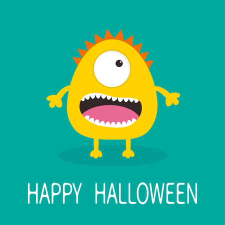 one eye: Happy Halloween greeting card. Yellow monster with one eye, teeth, tongue. Funny Cute cartoon character. Baby collection. Flat design. Green background. Vector illustration
