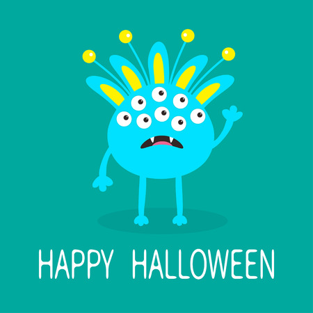 fang: Happy Halloween greeting card. Blue monster with ears, fang tooth. Funny Cute cartoon character. Baby collection. Flat design. Green background. Vector illustration