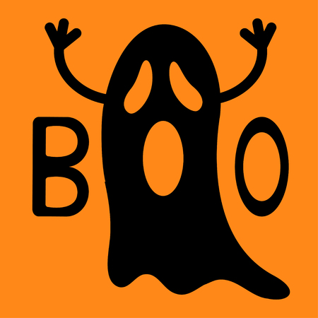 Happy Halloween. Funny black flying ghost with hands. Boo text. Greeting card. Cute cartoon character. Scary spirit. Baby collection. Orange background. Flat design. Vector illustration