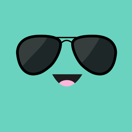Face with black pilot sunglassess. Happy emotion. Cute cartoon funny smiling character. Green background. Isolated. Flat design. Vector illustration