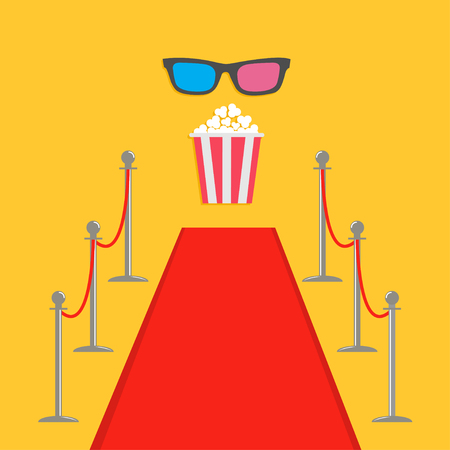 turnstile: Red carpet and rope barrier golden stanchions turnstile Popcorn box. 3D glasses. Isolated template Yellow background. Flat design Vector illustration