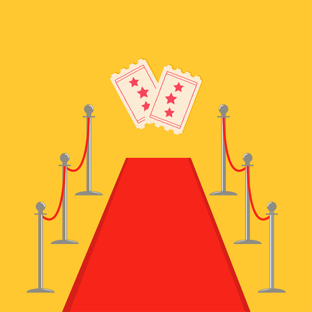 Red carpet and rope barrier golden stanchions turnstile Movie premiere two ticket set with stars. Isolated template Yellow background. Flat design Vector illustration