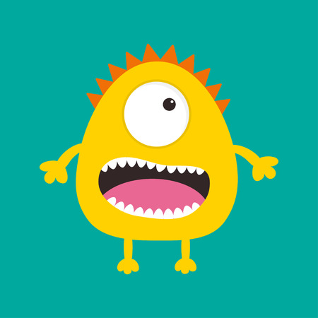 one eye: Yellow monster with one eye, teeth, tongue. Funny Cute cartoon character. Baby collection. Isolated. Happy Halloween card. Flat design. Green background. Vector illustration