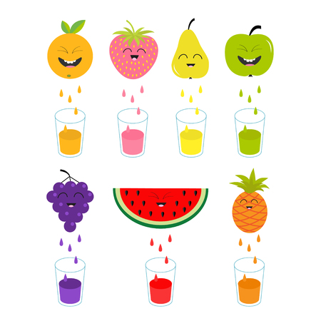 juicing: Fresh juice and glasses. Apple, strawberry, pear, orange, grape, watermelon, pineaple fruit with faces. Smiling cute cartoon character set. Natural product Juicing drops. Flat design. Isolated Vector