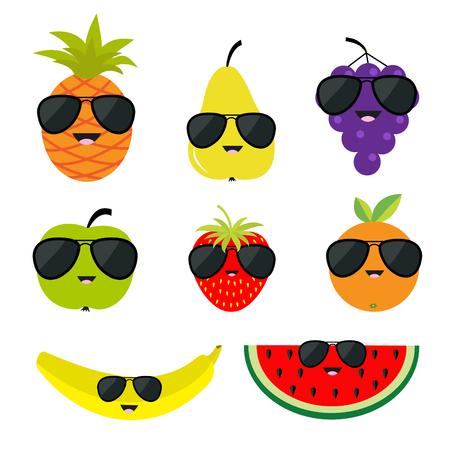 apple slice: Fruit and berry set sunglasses eyeglasses. Cartoon character face. Banana, strawberry, orange, pineapple, grape, mellon, watermellon, pear apple, slice Isolated Flat design Vector