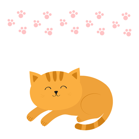 whisker: Cute lying sleeping orange cat with moustache whisker. Funny cartoon character. Pink animal paw print. White background. Isolated. Flat design. Vector illustration
