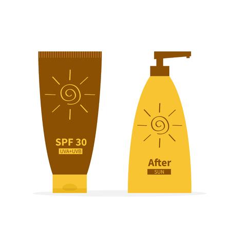 sun lotion: Tube of suntan cream. After sun lotion. Bottle set dispenser. Solar defence icon. SPF 30 sun protection factor. UVA UVB sunscreen. Isolated. White background. Flat design. Vector illustration