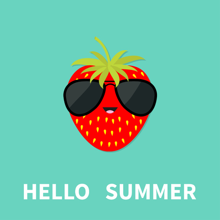 Big strawberry berry fruit with leaf wearing sunglasses. Cute cartoon smiling character. Hello summer Greeting Card. Flat design. Blue background. Vector illustration