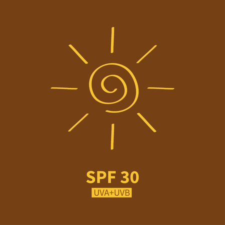 factor: Yellow spiral sun shining sign symbol. Swirl shape. Hello summer. SPF sun protection factor. UVA UVB sunscreen cosmetic tag, badge label. Flat Isolated Brown bronze background. Vector Illustration