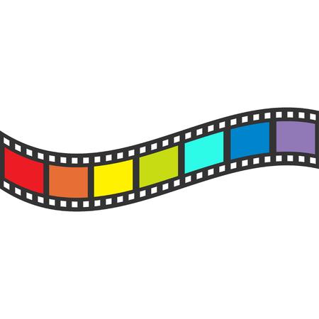 Rainbow flag Film strip frame. Wave shape ribbon. Design element. White background. LGBT Gay movie cinema sign symbol. Isolated. Flat. Vector illustration