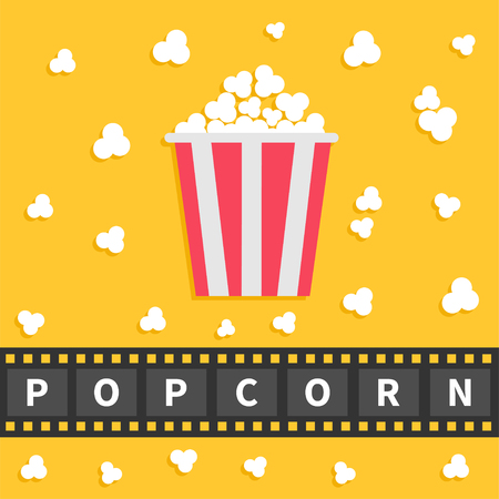 popping: Popcorn popping. Big film strip line with text. Red white box. Cinema movie night icon in flat design style. Yellow background. Vector illustration