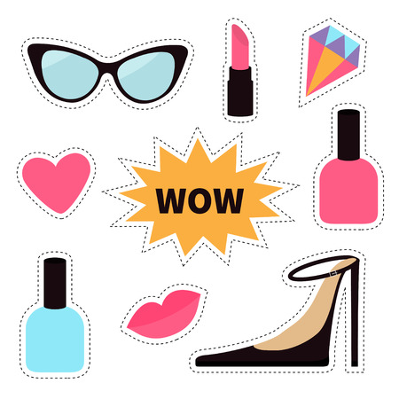 quirky: Quirky cartoon sticker patch badge set. Fashion pin. Lipstick, heart, wow text bubble star, diamond, shoes, lips sunglasses, nail polish Dash line contour. Isolated. White background. Flat Vector Illustration