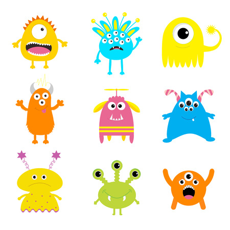 Monster big set. Cute cartoon scary character. Baby collection. White background Isolated. Happy Halloween card. Flat design. Vector illustration.  イラスト・ベクター素材