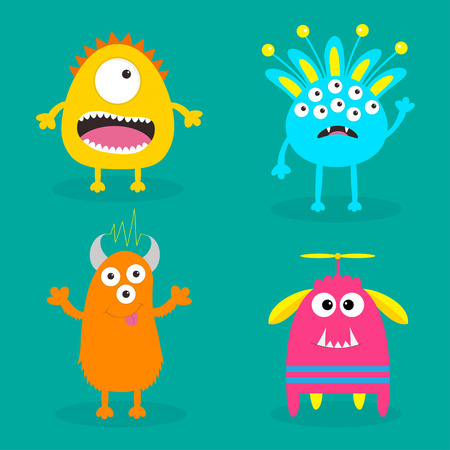 ugliness: Monster set. Cute cartoon scary character. Baby collection. Green background Isolated. Happy Halloween card. Flat design. Vector illustration. Illustration