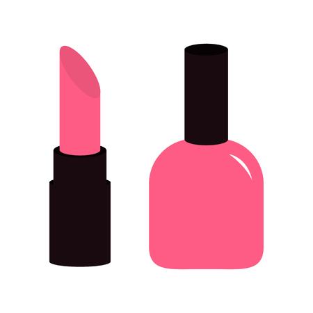 Pink Lipstick, Nail Polish Icon Set White Background Isolated ...