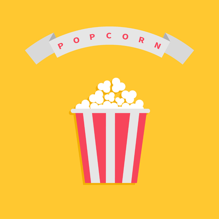 Popcorn box. Big round wave white ribbon line with red text. Cinema movie night icon in flat design style. Yellow background. Vector illustration
