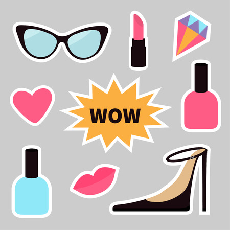 Quirky cartoon sticker patch badge set. Fashion pin. Lipstick, heart, wow text bubble star, diamond, shoes lips, sunglasses nail polish. White line contour Isolated Gray background. Flat design Vector Illustration