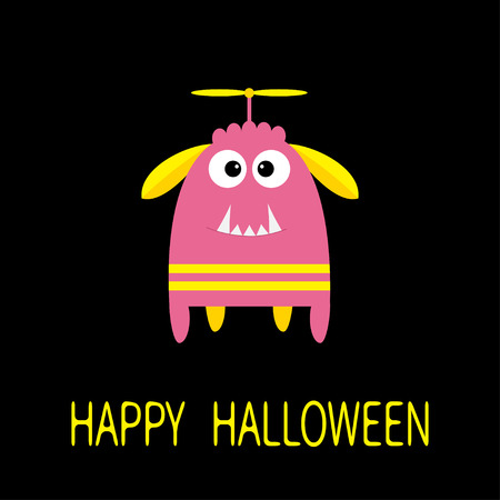 fang: Happy Halloween greeting card. Pink monster with ears, fang tooth, propeller. Funny Cute cartoon character. Baby collection. Flat design. Black background. Vector illustration