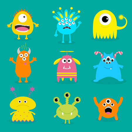 Monster big set. Cute cartoon scary character. Baby collection. Green background. Isolated. Happy Halloween card. Flat design. Vector illustration. Illustration