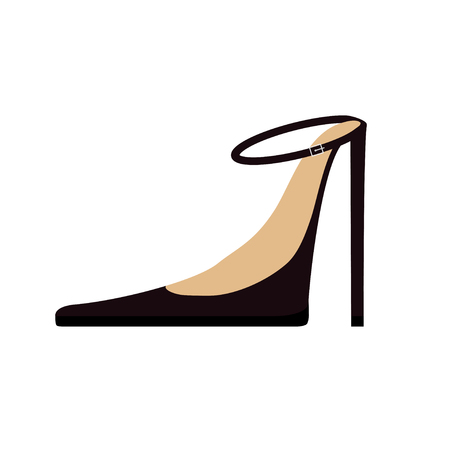 stiletto: Woman Female black shoes fashion icon. High spike heels stiletto. Strap with buckle. Flat design. Isolated. White background. Vector illustration Illustration