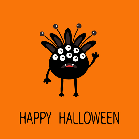 fang: Happy Halloween greeting card. Black silhouette monster with ears, fang tooth. Funny Cute cartoon character. Baby collection. Flat design. Orange background. Vector illustration