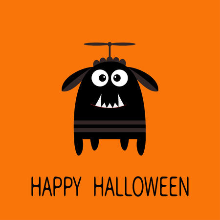 Happy Halloween greeting card. Black silhouette monster with ears, fang tooth, propeller. Funny Cute cartoon character. Baby collection. Flat design. Orange background. Vector illustration Illustration