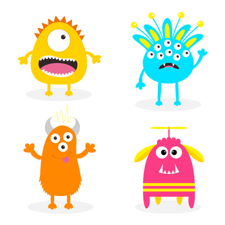 Monster set. Cute cartoon scary character. Baby collection. White background Isolated. Happy Halloween card. Flat design. Vector illustration.