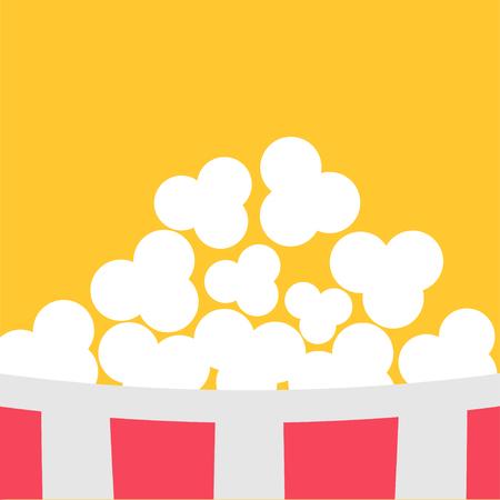 Super Big Popcorn Red White Strip Box. Cinema icon in flat design style. Yellow background. Vector illustration Illustration