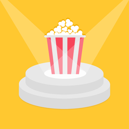 pop corn: Round stage podium illuminated by spotlights. Popcorn red white strip box. Pedestal for display. 3d realistic platform design. Isolated. Yellow background. Flat. Vector illustration