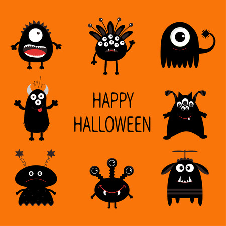 ugliness: Happy Halloween card. Black monster set. Cute cartoon scary silhouette character. Baby collection. Orange background. Isolated. Flat design. Vector illustration. Illustration
