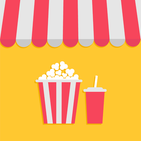 vitrine: Striped store awning for shop, marketplace, cafe, restaurant. Red white canopy roof. Popcorn and soda with straw. Cinema icon. Flat design. Yellow background. Isolated. Vector illustration