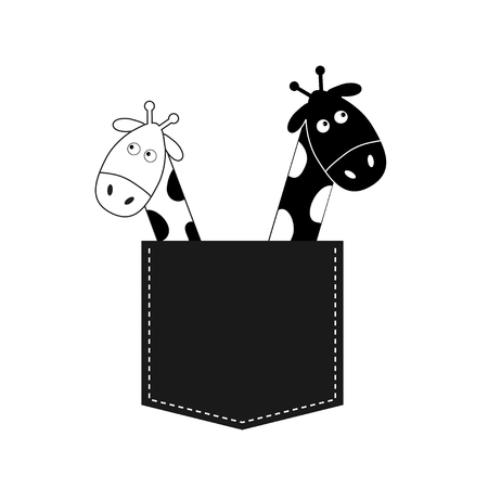 long neck: Cute cartoon black white giraffe in the pocket Boy girl couple. Camelopard on date. Long neck. Funny character set. Happy family. Love greeting card. Flat design. Isolated. Vector