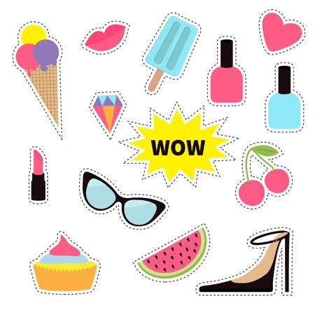 Quirky cartoon sticker patch badge set. Fashion pin. Lipstick, heart, rainbow, cloud, cupcake, diamond, ice cream, watermelon lips, cherry sunglasses Dash line contour Isolated Flat Vector