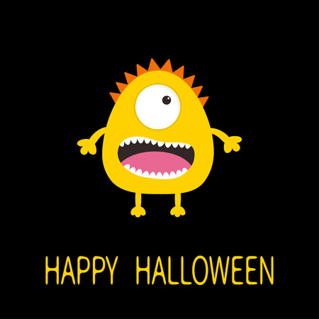 one eye: Happy Halloween greeting card. Yellow monster with one eye, teeth, tongue. Funny Cute cartoon character. Baby collection. Flat design. Black background. Vector illustration