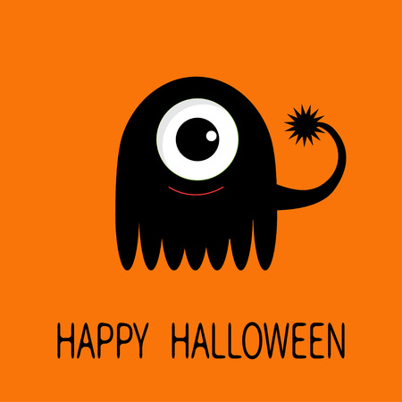 ugliness: Happy Halloween greeting card. Black silhouette monster with big eye and tail. Funny Cute cartoon character. Baby collection. Flat design. Orange background. Vector illustration