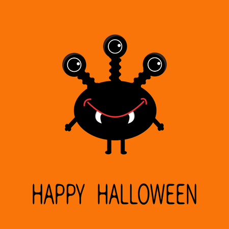 ugliness: Happy Halloween greeting card. Black silhouette monster with thre eyes, teeth fang. Funny Cute cartoon character. Baby collection. Flat design. Orange background. Vector illustration Illustration