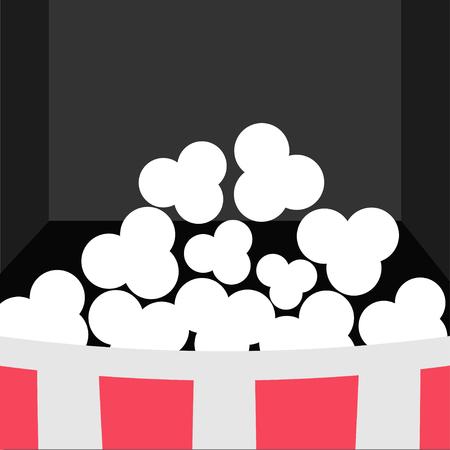 cinema screen: Super Big Popcorn Icon. Red White Strip Box. Movie theater Cinema screen in flat design style. Black background. Vector illustration