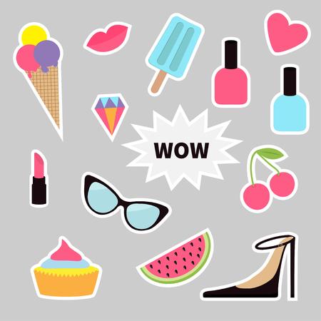 quirky: Quirky cartoon sticker patch badge set. Fashion pin. Lipstick, heart, wow text, cupcake, diamond, shoes, ice cream, watermelon, lips cherry, sunglasses nail polish White line contour Flat Vector