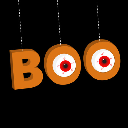 Hanging 3D word BOO text with red eyeballs. Dash line thread. Happy Halloween. Greeting card. Flat design. Black background. Vector illustration