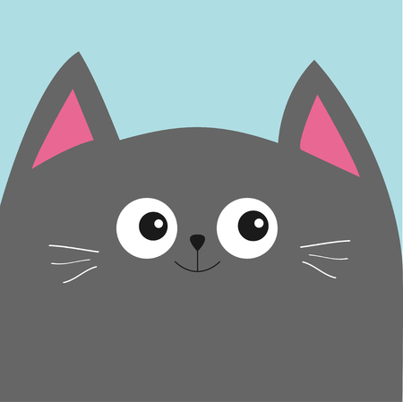 gray cat: Gray cat head with big eyes and moustache. Cute cartoon character. Pet baby collection Card. Flat design. Vector illustration.