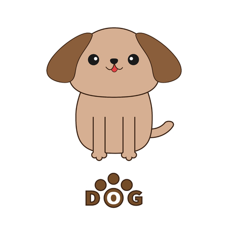 shihtzu: Little glamour tan Shih Tzu dog text with paw print.. Cute cartoon character. Pet baby collection. Isolated. White background. Flat design. Vector illustration. Vector illustration