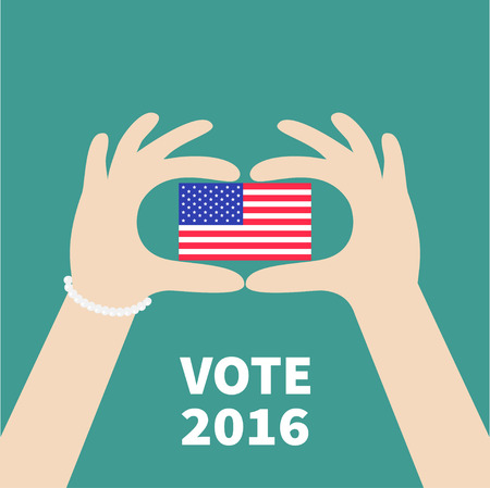 polling station: President election day 2016. Voting concept. Hands holding american flag. Isolated Green background Flat design Card. Vector illustration