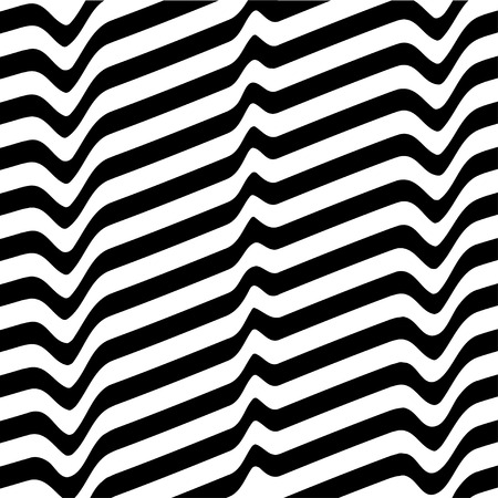 opt: Monochrome movement illusion. White black abstract wave line optical background. Art design template. Vector illustration