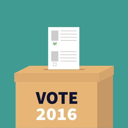 encuestando: urnas de votación de papel anuncios en blanco con el concepto de marca verde. Centro electoral. Presidente de la elección 2016 días Vota blanco texto negro. Tarjeta de diseño plano. ilustración vectorial