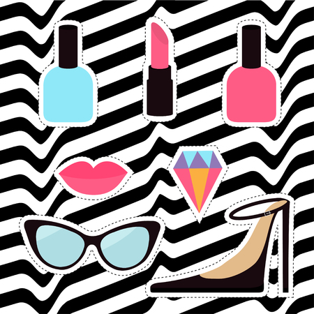 nineties: Quirky cartoon sticker patch badge set. Woman Fashion pin. Lipstick, diamond gem, shoes, lips, sunglasses, eye glasses, nail polish White black wave abstract line optical background Flat design Vector