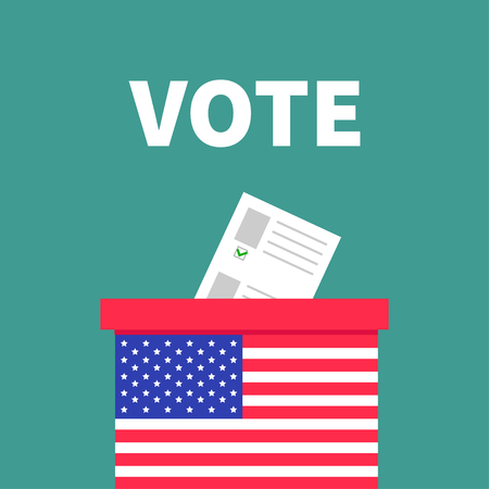 voting box: American flag Ballot Voting box with paper blank bulletin concept. Polling station. President election day Vote. Isolated Green background Flat design Card. Vector illustration Illustration