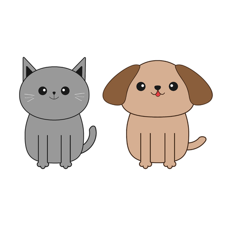 whisker: Cartoon dog and cat. Mustache whisker. Funny smiling character set. Contour Flat design. White background. Isolated. Vector illustration