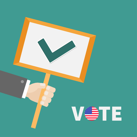 green tick: Businessman hand holding paper blank sign plate with green tick check mark. Vote text Badge button American flag President election day. Voting concept. Flat design Vector Illustration