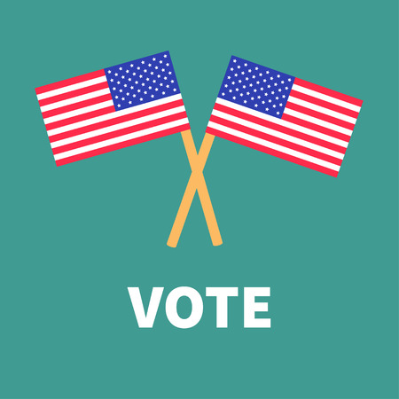 polling station: President election day. Voting concept. Two crossed american flag set. Isolated Green background Flat design Card. Vector illustration Illustration